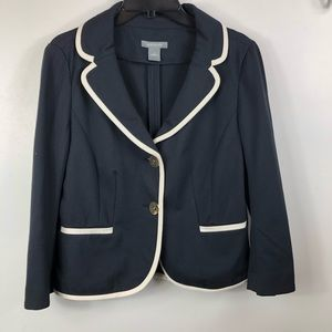 ANNE TAYLOR: Navy Blue and White Blazer - Size 10